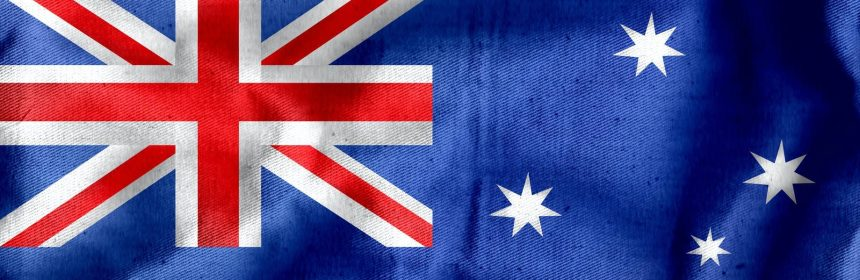 textile australian flag with crumples